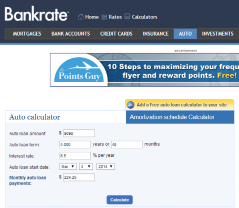 Bankrate_AutoLoan calculator