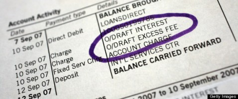 A bank statement showing an overdraft excess fee arranged fo