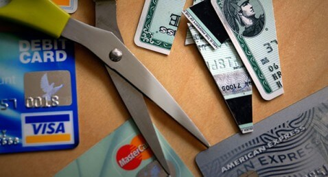 Cutting up credit cards. Image shot 2008. Exact date unknown.